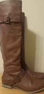 XOXO Brown Riding Boots w/ Gold Metal Detail